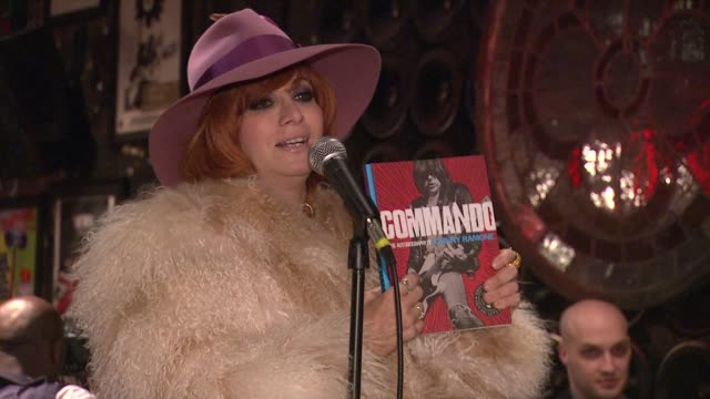 "linda ramone on how influential a guitar player johnny ramone was and it is all in the book at john varvatos celebrates the launch of ""commando: the... - autobiography stock videos & royalty-free footage"