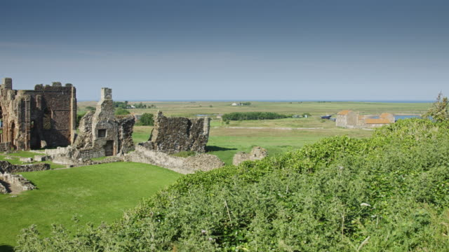lindisfarne ruins - abbey stock videos & royalty-free footage