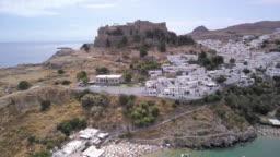 Lindos beach and acropolis