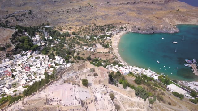 lindos beach and acropolis - rhodes dodecanese islands stock videos & royalty-free footage