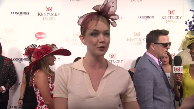 interview lindsay ellingson on enjoying the derby and which horse she likes at 141st kentucky derby at churchill downs on may 02 2015 in louisville... - pferdeartige stock-videos und b-roll-filmmaterial