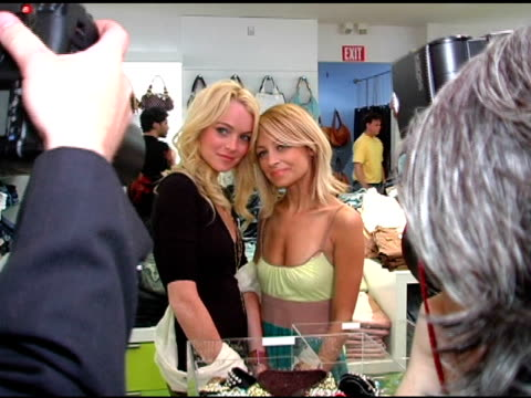 Lindsay Lohan and Nicole Richie at the Launch of 'Tweety' Collection by Warner Brothers Consumer Products on May 10 2005