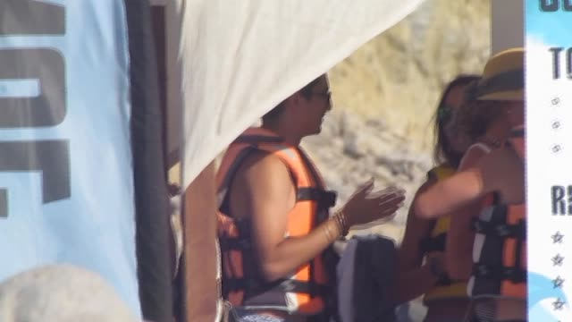 lindsay lohan sighting in ibiza - avvistamenti vip video stock e b–roll