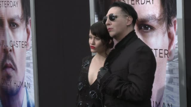 lindsay usich and marilyn manson at the transcendence los angeles premiere at regency village theatre on april 10 2014 in westwood california - regency style stock videos and b-roll footage