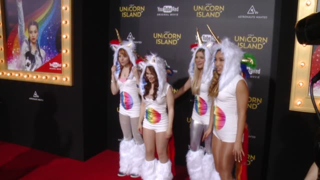 """lindsey stirling, rosanna pansino, ijustine, and cassey ho at """"a trip to unicorn island"""" world premiere at tcl chinese theatre on february 10, 2016... - stirling stock videos & royalty-free footage"""