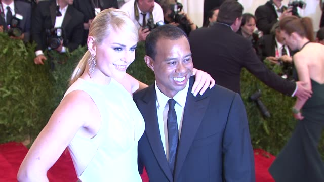 lindsey vonn and tiger woods at punk chaos to couture costume institute gala at metropolitan museum of art on may 06 2013 in new york new york - tiger woods stock videos & royalty-free footage