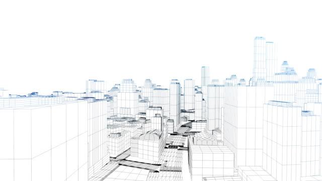 vídeos y material grabado en eventos de stock de a line drawing depicts skyscrapers and city streets. - cianotipo plano