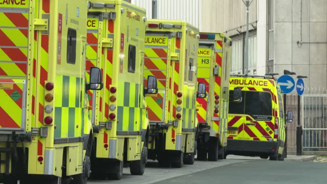 line of ambulances outside the royal london hospital in east london on january 3, 2021. - the british prime minister said on january 3 he was... - shape stock videos & royalty-free footage