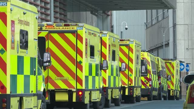 line of ambulances outside the royal london hospital in east london on january 3, 2021. - the british prime minister said on january 3 he was... - spiral stock videos & royalty-free footage