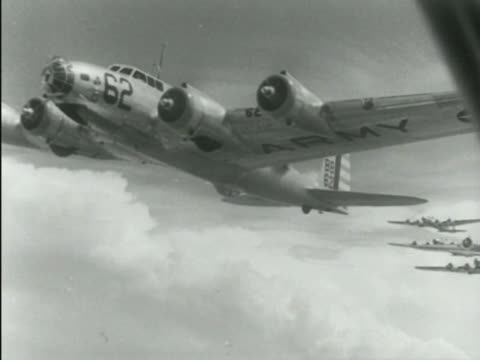 """line of b-17 """"flying fortress"""" aircraft turning left out of line & taxiing forward wing moving above position on runway. aerial b-17 in flight, other... - bomber stock videos & royalty-free footage"""