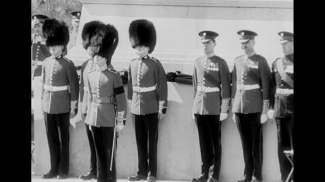 line of grenadier guards stands at attention in front of windsor palace as queen elizabeth and a small contingent of guards approach for military... - 近衛兵点の映像素材/bロール