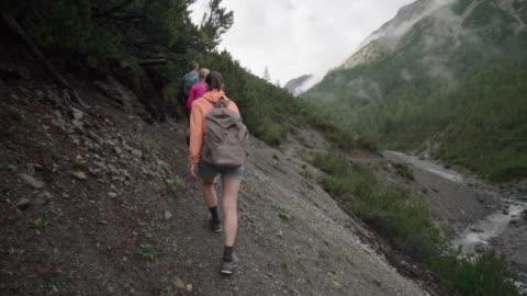 vídeos y material grabado en eventos de stock de línea de excursionistas navega camino boscoso hacia arroyo de montaña - carretera de tierra
