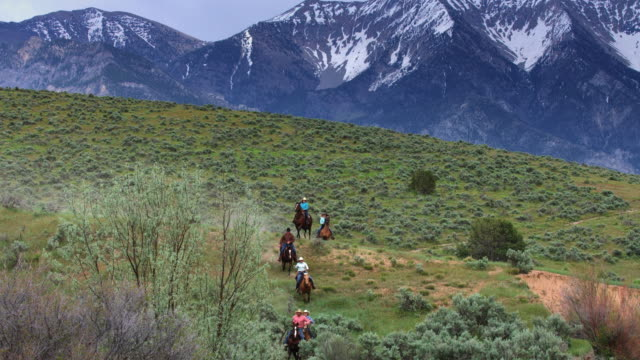 Line of Horseback Riders in Gorgeous Utah Valley