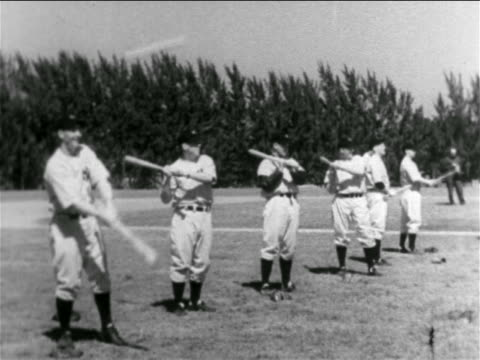 line of pro baseball players bunting balls in practice / ny yankees / florida - チーム写真点の映像素材/bロール