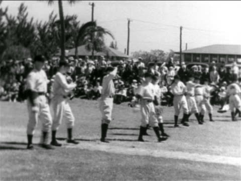 line of pro baseball players throwing + catching balls in practice / ny yankees - チーム写真点の映像素材/bロール