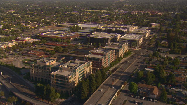 AERIAL Line of Silicon Valley office buildings in Sunnyvale, California, USA