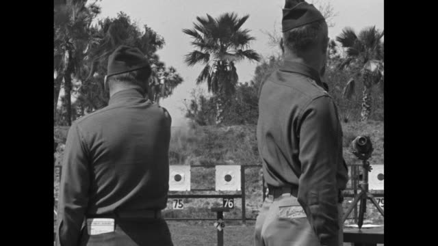 line of targets / tilt-down shot competitors aim pistols, shoot during national pistol shooting tournament / rear shot soldiers fire at targets; palm... - water pistol stock videos & royalty-free footage
