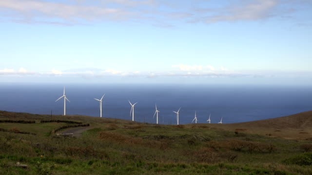 Linie von Windkraftanlagen auf der Insel Maui