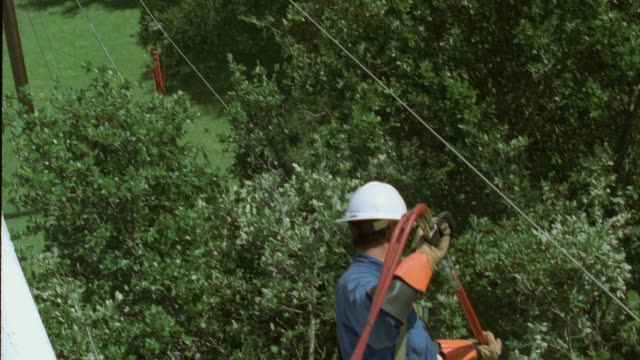 ms ha td lineman in bucket truck using saw to trim branches next to power lines / georgetown, texas, usa - see other clips from this shoot 1842 stock videos & royalty-free footage
