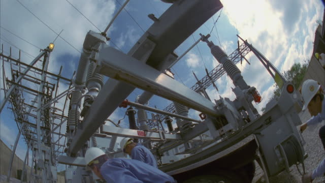 slo mo ms la linemen working at substation through / cedar park, texas, usa - cedar park texas stock videos & royalty-free footage