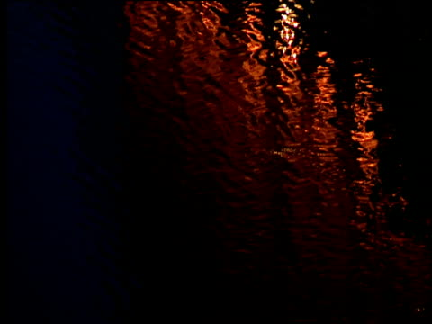 lines of orange light reflected in dark river water - river thames stock videos & royalty-free footage