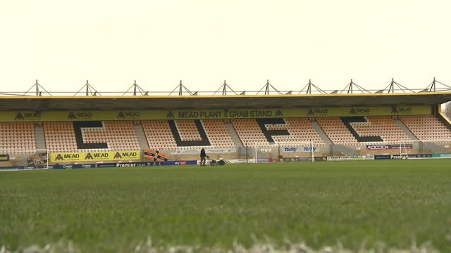lines painted onto football pitch at cambridge united's abbey stadium, as they prepare to welcome fans back for the first time since the coronavirus... - pitch stock videos & royalty-free footage