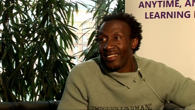 linford christie and mark lewisfrancis interviews england london int linford christie interview sot on going on i'm a celebrity reality tv show /... - i'm a celebrity... get me out of here stock videos & royalty-free footage