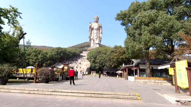 lingshan giant buddha - statue stock videos & royalty-free footage
