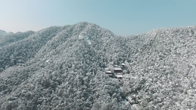 aerial lingyin temple after snow,hangzhou,china - zhejiang province stock videos & royalty-free footage