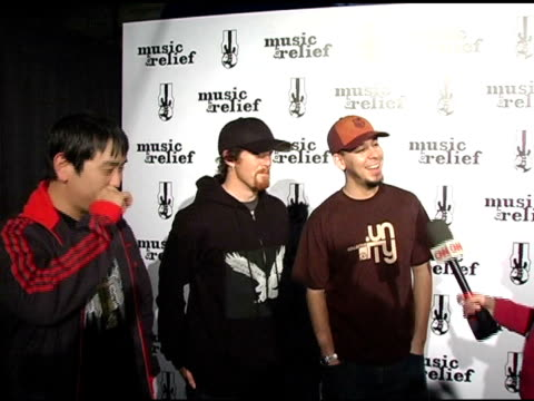 linkin park at the 'music for relief rebuilding south asia' benefit show at arrowhead pond in aneheim california on february 18 2005 - linkin park stock videos and b-roll footage