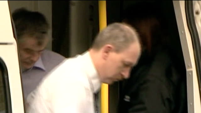 linlithgow ext peter tobin out of police van as arrives at court and along into court - linlithgow stock videos and b-roll footage