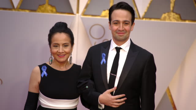 lin-manuel miranda and luz towns-miranda at the 89th annual academy awards - arrivals at hollywood & highland center on february 26, 2017 in... - hollywood and highland center stock videos & royalty-free footage