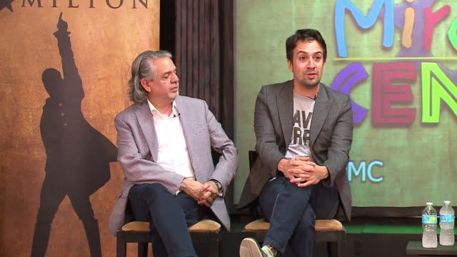 wgn linmanuel miranda sitting next to his father spent time with young thespians at the miracle center an artsbased program that helps atrisk youth... - musical theater stock videos and b-roll footage