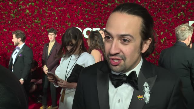 interview linmanuel miranda talks about seven years of work and all the people who helped create hamilton at 2016 tony awards red carpet at the... - 70th annual tony awards stock videos and b-roll footage