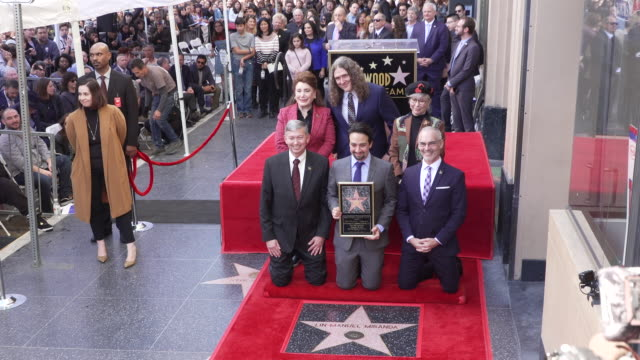 vídeos de stock, filmes e b-roll de linmanuel miranda weird al yankovic rita moreno mitch o'farrell leron gubler at linmanuel miranda honored with star on the hollywood walk of fame in... - weird al yankovic