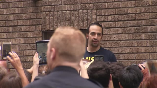 lin-manuel miranda with fans outside of richard rodgers theatre. - hamilton new york state stock videos & royalty-free footage