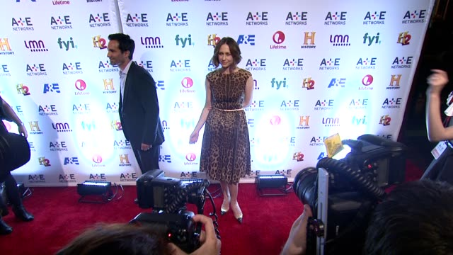 linus roache clive standen nancy dubuc katheryn winnick vera farmiga nestor carbonell and max thieriot at 2014 ae networks upfront arrivals at park... - waffenlager stock-videos und b-roll-filmmaterial