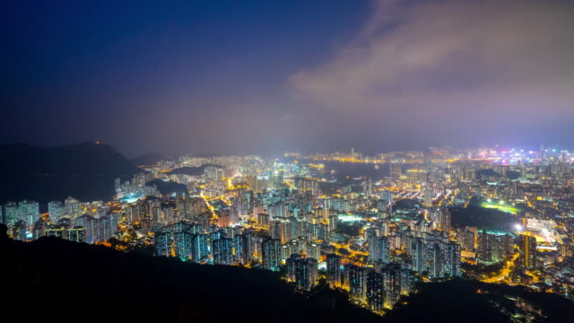 lion rock view point, night city scape of hong kong city - commercial sign stock videos & royalty-free footage