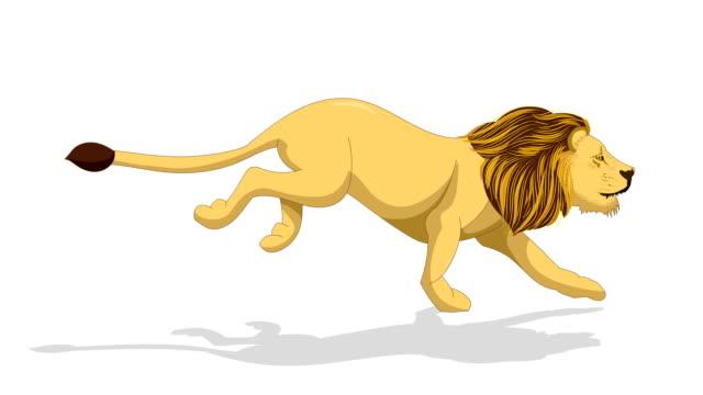 vídeos de stock, filmes e b-roll de animação running do leão - ilustração e pintura