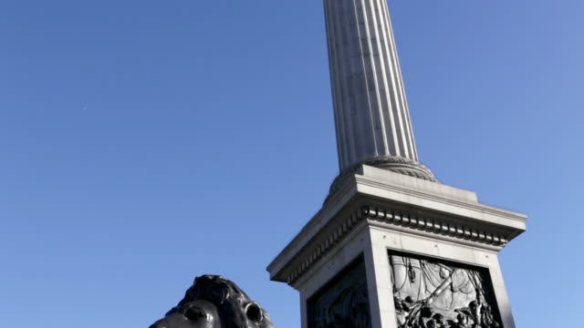 lion statue and nelson's column, london - column stock videos & royalty-free footage