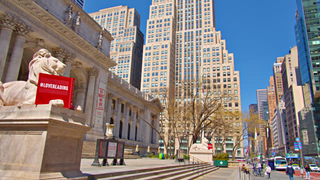 lion structure in front of new york public library. financial district. - bryant park stock videos & royalty-free footage