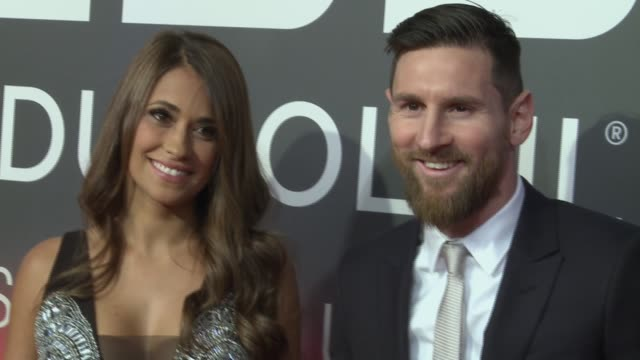 lionel 'leo' messi of fc barcelona and antonella roccuzzo attend the cirque du soleil inspired by leo messi presentation at the camp nou fc barcelona... - lionel messi stock videos and b-roll footage