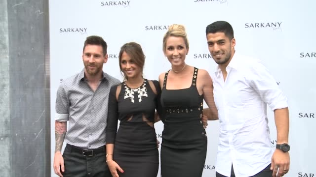 lionel messi antonella roccuzzo sofia balbi and luis suarez attend the opening of sarkany shoes boutique - lionel messi stock videos and b-roll footage