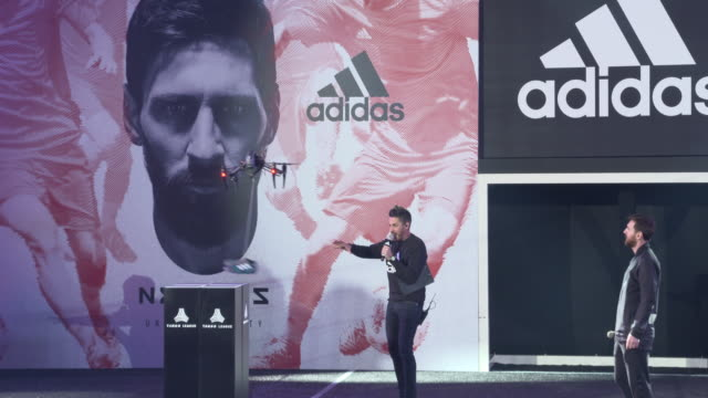 lionel messi is presented his new adidas signature shoe at the palau sant jordi club on january 26 2018 in barcelona spain - lionel messi stock videos and b-roll footage