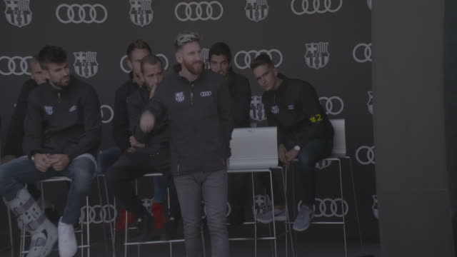 lionel messi receives a new audi 2017 car at camp nou on october 27 2016 in barcelona spain the barcelona football club first team receive new audi... - lionel messi stock videos and b-roll footage