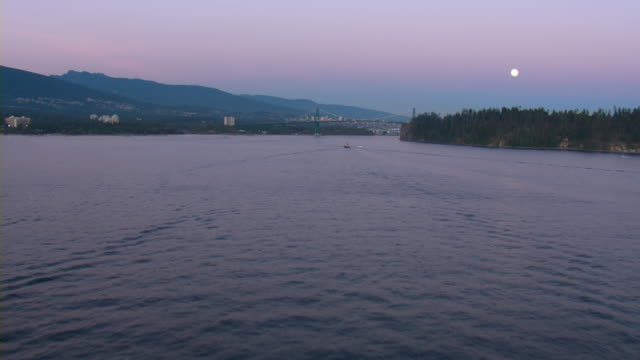 Lions Gate Bridge spans Burrard Inlet in Vancouver, Canada.