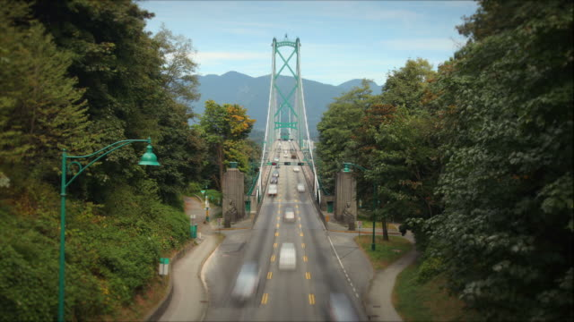 lions gate bridge, vancouver, canada - vancouver canada stock videos and b-roll footage