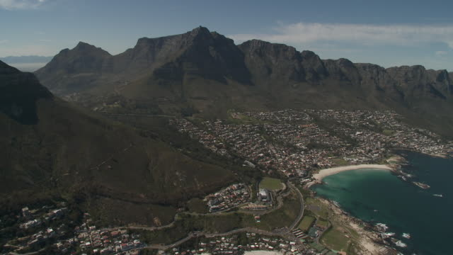 AERIAL Lion's Head, Table Mt, 12 Apostles mountains and Camp's Bay, Cape Town, Western Cape Province, South Africa