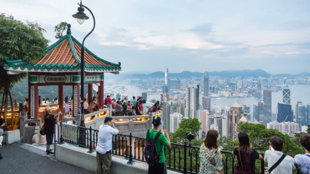 Lion's Pavilion lookout point at Victoria Peak, Hong Kong Island, Hong Kong, China - Time lapse