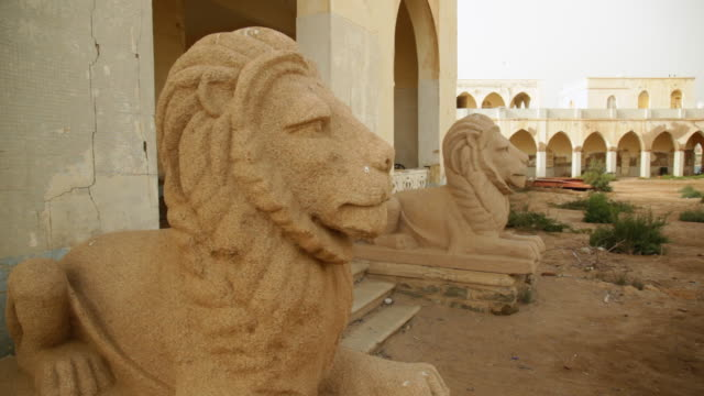 Lions statues in the old palace of haile selassie Massawa Eritrea on February 28 2013 in Massawa Eritrea